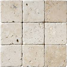4×4 Tumbled Ivory Travertine