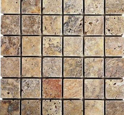 2×2 Scabos Dark Tumbled Travertine Mosiac